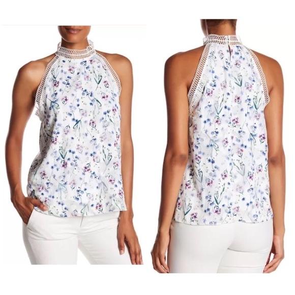 b83e9ff1923ae Tahari White Floral Donna Blouse Top Tank Lace NEW. NWT